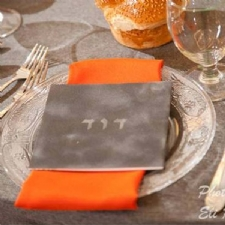 This Bencher is done in grey suede and embossed the Bar Mitzvah boy's name
