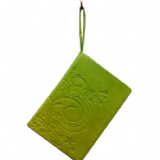 Green Leatherette Zippered Siddur with Wristlet Band Embossed Design